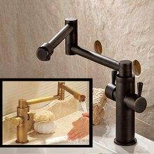 Antike Messing/Öl Eingerieben Bronze Strectch Folding spüle Wasserhahn Deck Montiert Messing Heißes und Kaltes Wasser wasserhähne