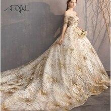 Adln Vintage Emas Berpayet Pernikahan Gaun Setengah Lengan Leher Perahu  Bola Gaun Pernikahan Gaun Vestidos De 6b9d31482b93