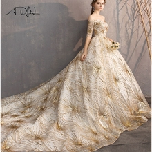 ADLN Vintage Gold Sequined Ball Gown Wedding Dress