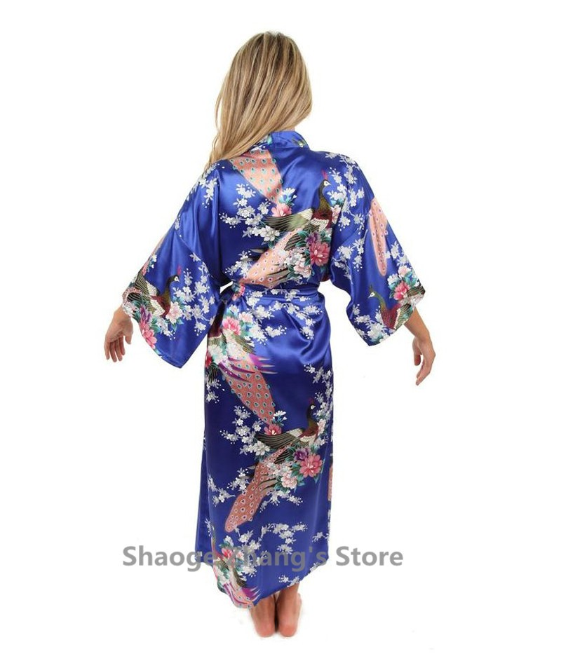 Hot Sale Blue Female Silk Rayon Robes Gown Kimono Yukata Chinese ... 820dd4b75b94