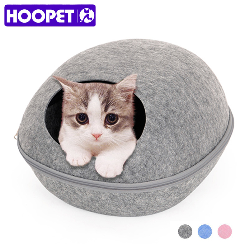 HOOPET Dog Cat Bed Cave Sleeping Bag Zipper Egg Shape Felt Cloth Pet House Nest Cat Basket Products For Cats Animals Supplies