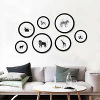 DIY Round Photo Frame Cartoon animal abstract Wall Mounted Wooden Picture Holder Living Room Home Decor Photo Frames kids room