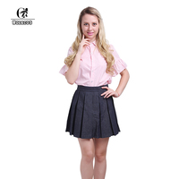 ROLECOS Women Clothing Sets Short Sleeve Pink Shirt Denim Skirt School Girl Uniform Cosplay Costumes Vintage