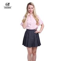 ROLECOS Women Clothing Sets Short Sleeve Pink Shirt Denim Skirt School Girl Uniform Cosplay Costumes Vintage Women Clothing Set