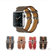 YIFALIAN Genuine Leather double buckle cuff band For Apple Watch 42mm/38 bracelet watchbands watch strap for iwatch