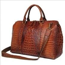 Women Travel Duffle Large Capability Real Leather 18 Weekend Bag 2018 Lady Business  Crocodile Laptop Tote Handbag