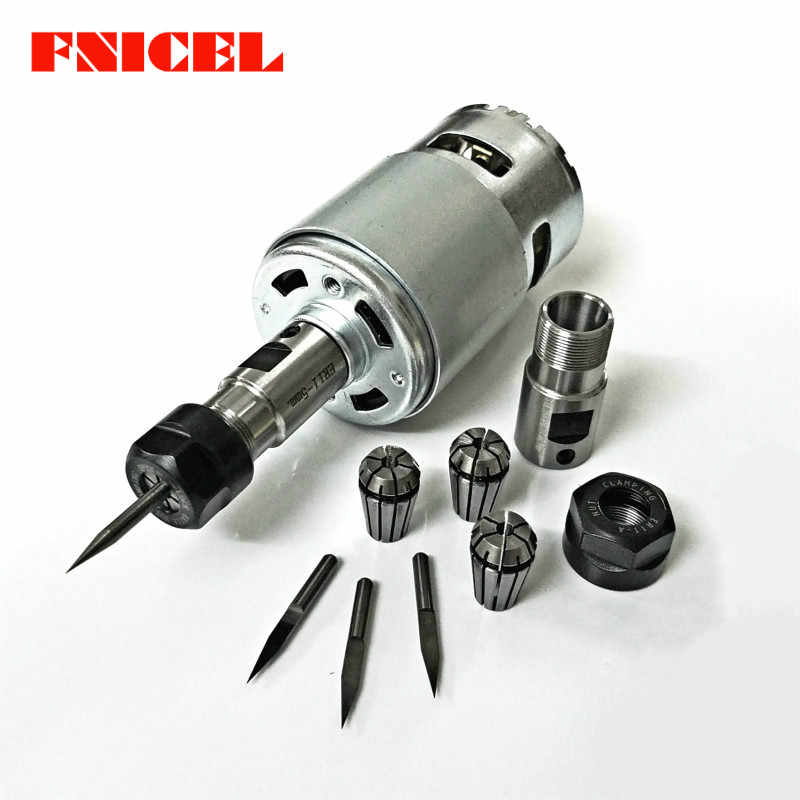 775 DC Motor 12-36V 4000-12000 RPM Ball Bearing Spindle Motor with ER11 Extension Rod Carving Knife for CNC Router Machine