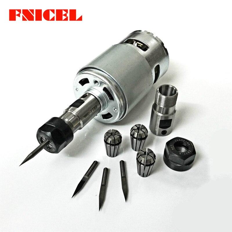 775 DC 12-36 V 4000-12000 RPM Do Motor do Rolamento de Esferas de Extensão Da Haste Do Eixo Do Motor com ER11 Escultura faca para a Máquina Router CNC