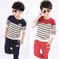 Children Clothes Cotton Casual Boys Clothing Sets Long Sleeve Striped Boys Top + Pants 2 Pcs/set Boys Clothes Kids Tracksuit