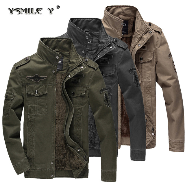 Fashion Men Winter Military style Jacket Cotton Embroidery Thicker add  velvet Keep-Warm Coat Commuter Windproof Outwear 8ef5df60ca0c