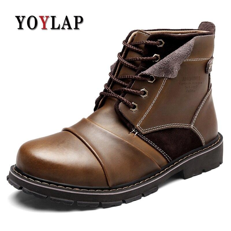 b00abcbd ... hombres negro marrón dr. botas. Cheap Invierno cálido trabajo seguridad  doctor Dr Martin zapatos Vintage botas de nieve antideslizante cuero tobillo