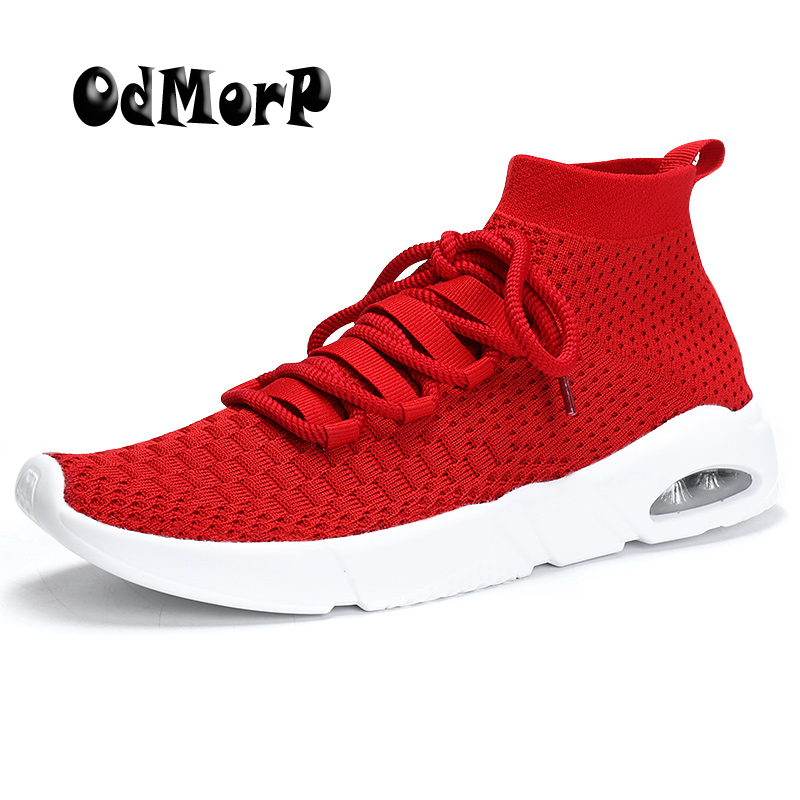 ODMORP Mens Shoes New Fashion Design Breathable Mesh Casual Shoes Men Sneaker Lace Up Light Spring Summer Sock Shoes Size 46