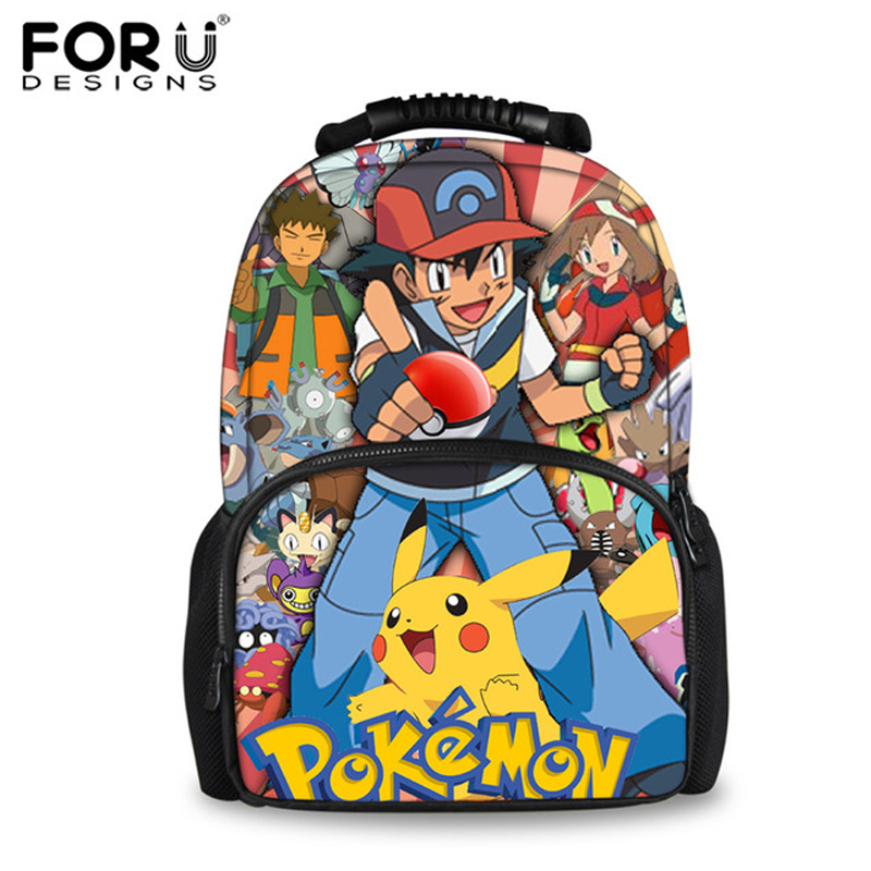 FORUDESIGNS 3D Pokemon Pikachu School Backpacks for Teenage Boys Girls Women Felt Backpack Casual School Bagpack Bolsa Mochilas forudesigns 3d printing backpacks for teenager boys girls anime pokemon naruto men felt backpack casual school bagpack mochilas