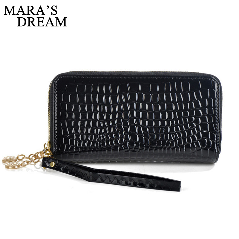 Mara's Dream Wallet 2018 High Quality Black Purse Women Leather Purses Wallets  Double Zipper Day Clutch Coin Card Bag