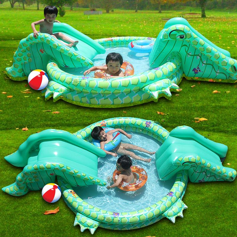 Ny ankomst multifunktionelt oppusteligt barn swimmingpool spil Krokodille til swimmingpool med dobbelt glide Stroke vandrutschebane