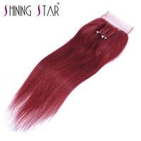 Red Bold 99J Straight Three Part Closure Brazilian Human Hair Weave Burgundy Hand Tied Shining Star
