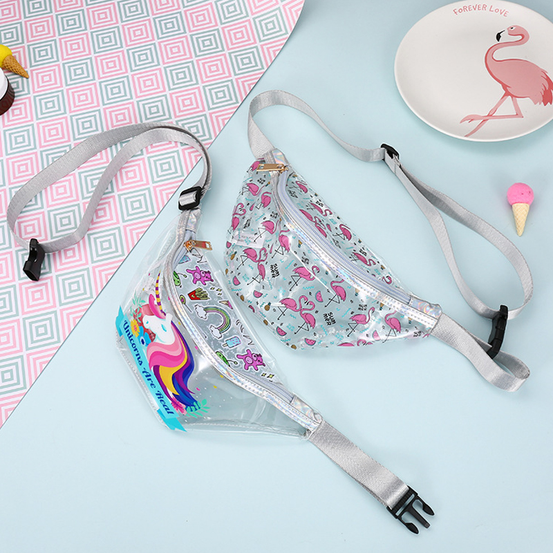 New Flamingo Women's Pocket Fashion Transparent Pocket PVC Girls Sports Pocket Women's Shoulder Diagonal Waterproof Bag