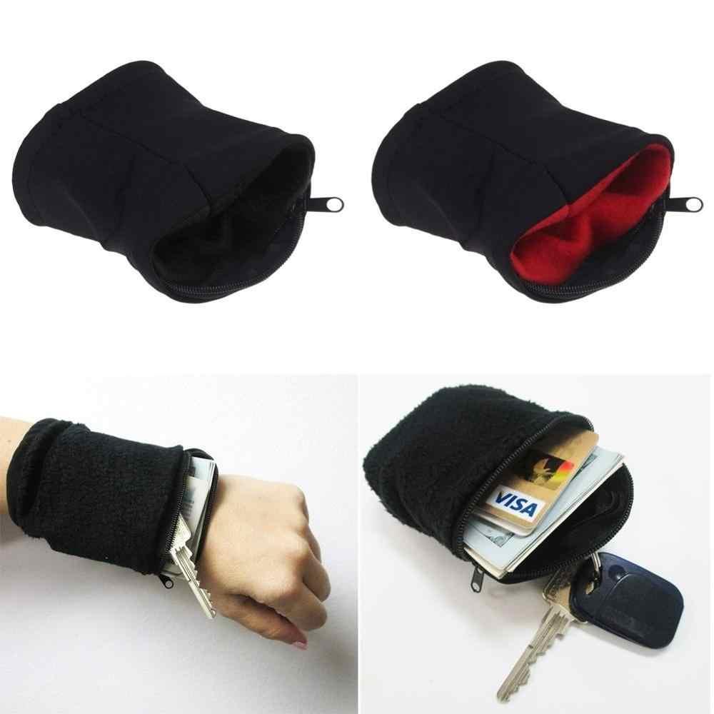 IEMUH carte de crédit poignet portefeuille pochette polaire Zipper antivol portefeuille portefeuille porte-cartes de visite pour cartes de crédit