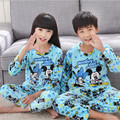 5-12Y Flannel pajamas for children 2016 winter boys Girls Coral fleece long sleeved warm pyjamas child Home kids Christmas gift