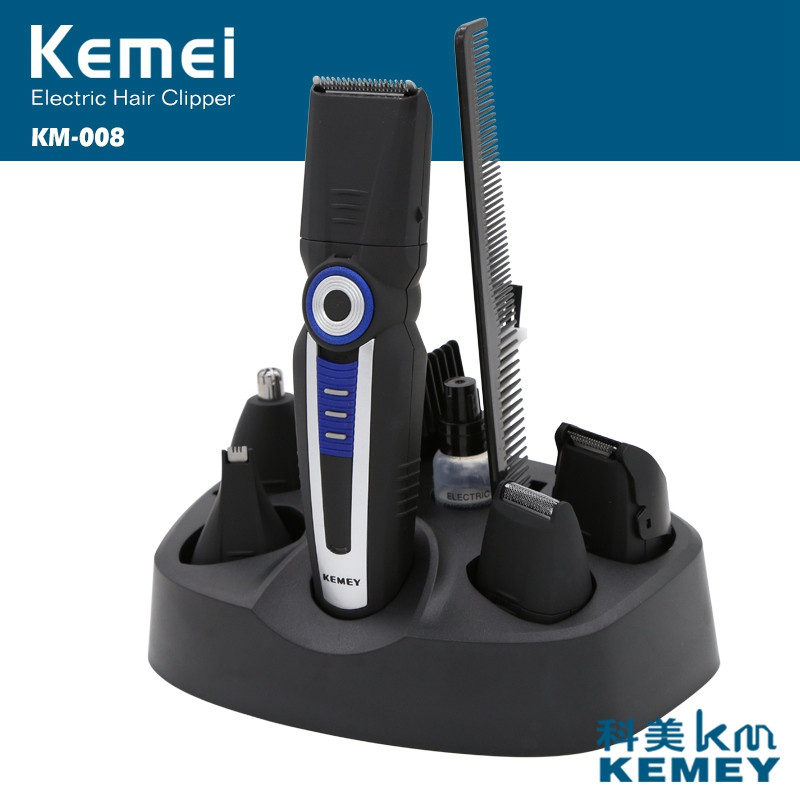 Professional Kemei KM-008 6 in 1 Rechargeable Electric Shaving Machine Hair Cutting Beard Trimmer Hair Clipper Styling Tools kemei 5 in 1 rechargeable cordless hair clipper electric shaver beard trimmer men styling tools shaving machine cutting cutter