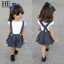 HE Hello Enjoy Newest Girls Clothing Sets Casual T-shirt+Polka Dot Suspender Skirts Overalls Headband Outfits Cute Kids Clothes
