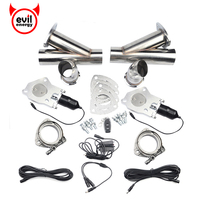 2 25 Inch Remote Control Cut Out Stainless Steel Y Headers Catback Pair Electric Exhaust Cutout