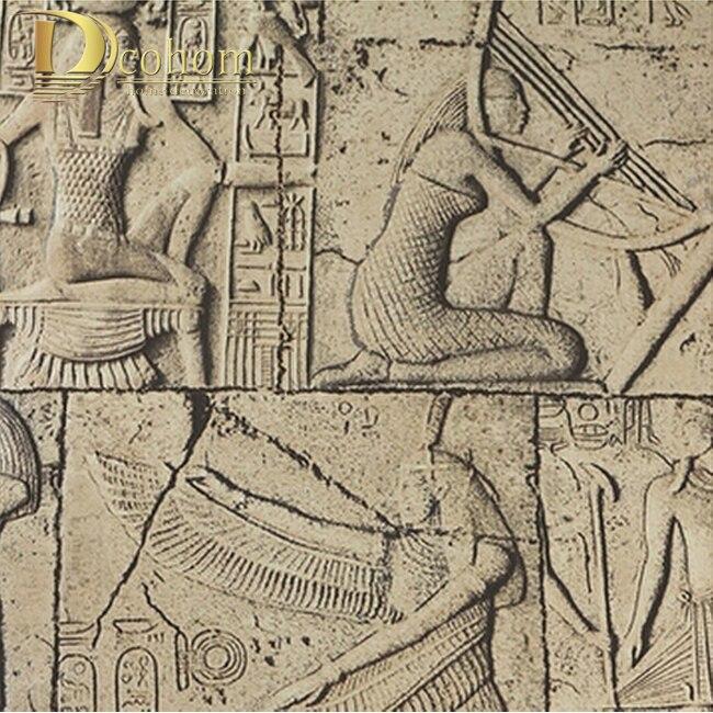 De haute Qualité En Relief papier peint 3D Egypte ancienne peintures murales Classique sculpture vintage PVC revêtement mural en vinyle étanche R448