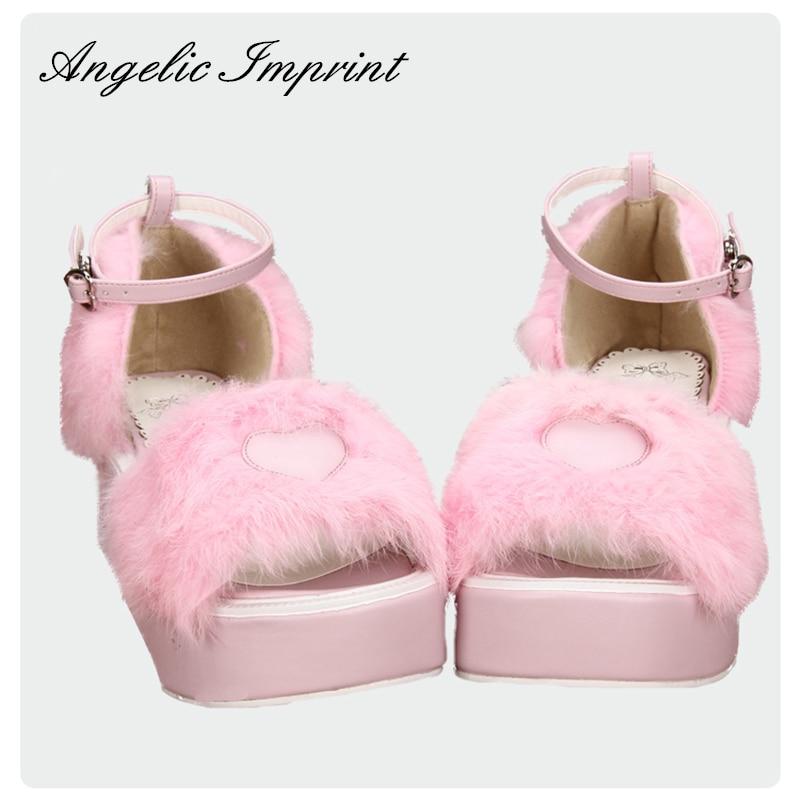 Sweet Pink Fur Wedge Platform Heel Princess Girl Lolita Sandals Summer Shoes