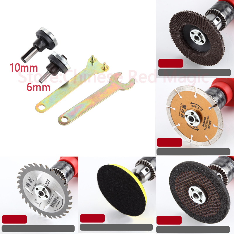 NEW 6mm Or 10mm Electric Drill Converter Spindle Adapter M10 Angle Grinder Polish Connecting Rod For Grinder Cut Off Wheels Disc
