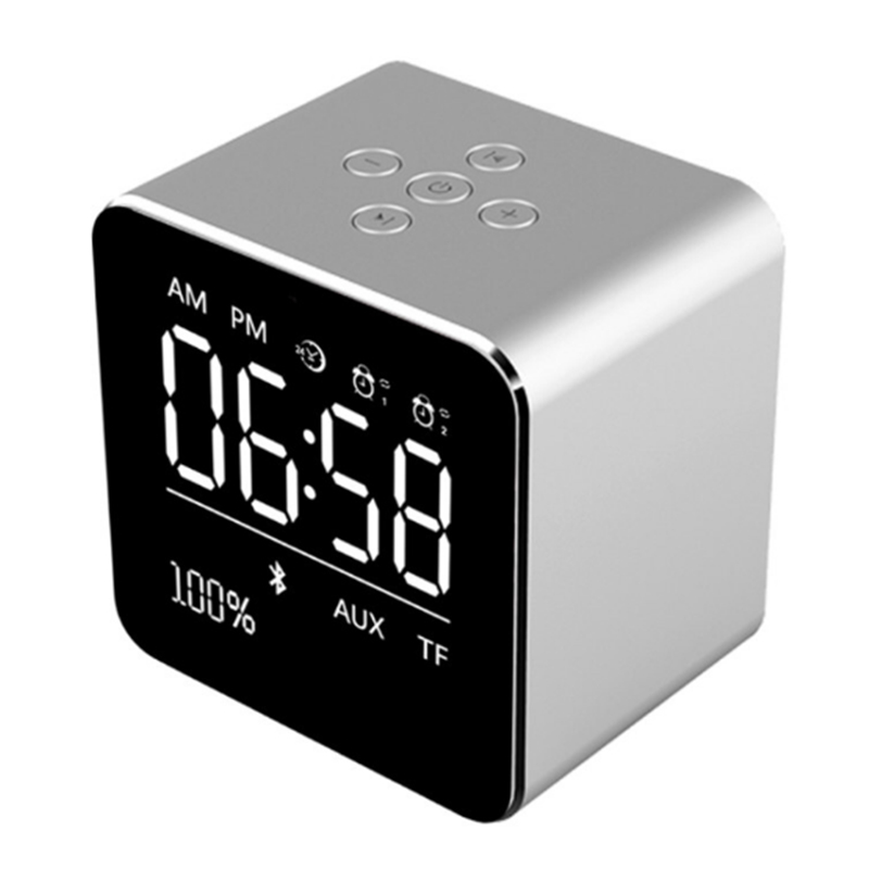 EAAGD Alarm Clock with Wireless Bluetooth speaker, Metal Mini Square Portable Speaker 2 set of Alarm Clock LCD Screen for office