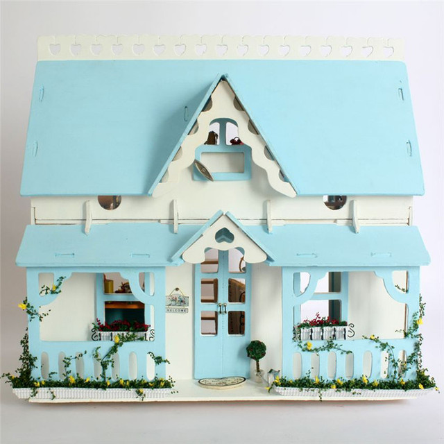 Lovely DIY Wood Blue Doll House with Furniture