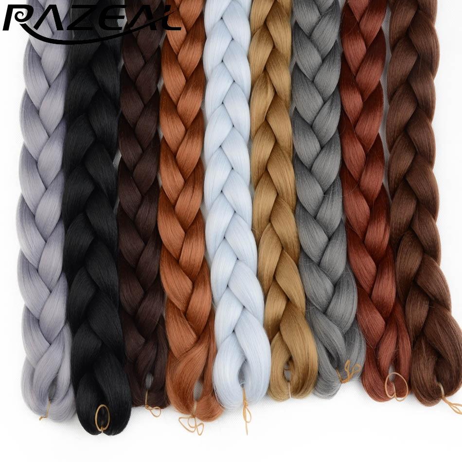 2PCS 82inch 165g Pack Synthetic Kanekalon Braiding Hair Extensions Razeal Long Jumbo Braids Crochet Hair Bulk