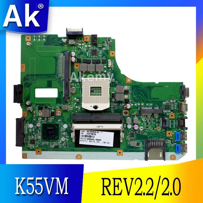 Carte mère d'ordinateur portable AK K55VM pour asus A55V K55V K55VM carte mère REV2.2/2.0 Support Geforce GT630 2G 100% testé
