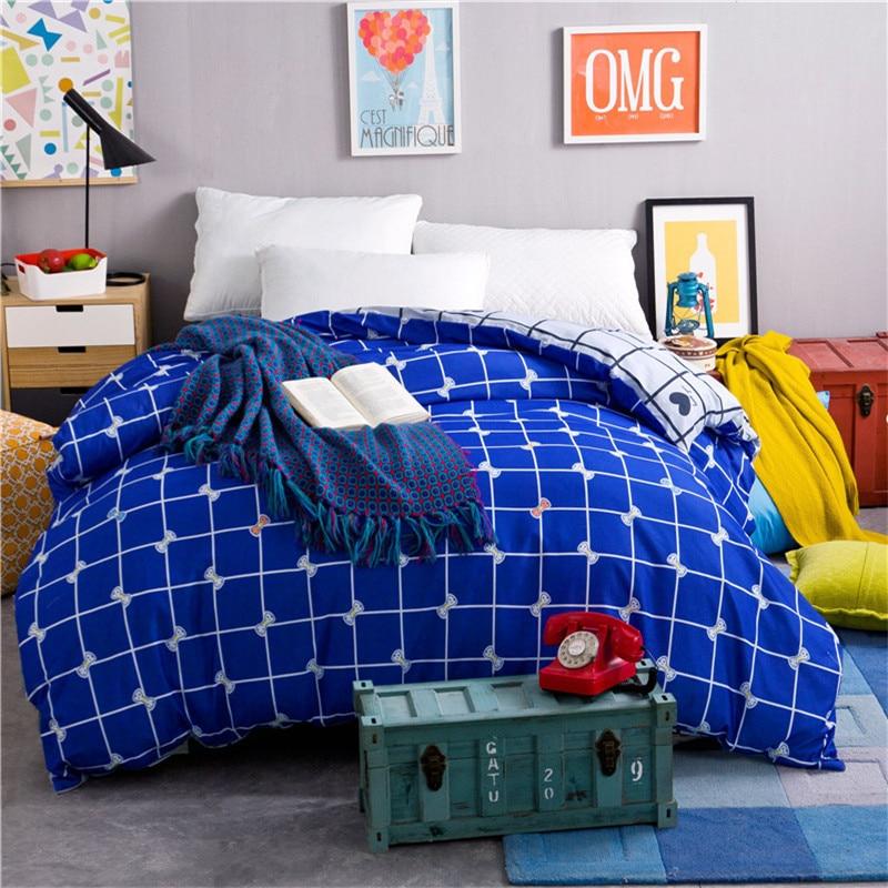 100% Cotton Soft Plaid Blue Bow Pattern 1 PC Dyeing Super Soft Duvet Cover Quilt Cover Home-Textile 4 Size For Choose Bedding