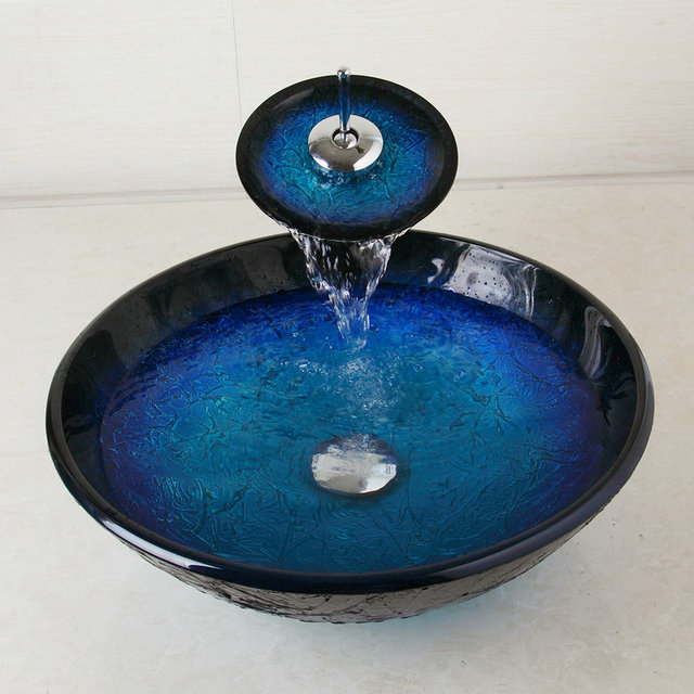 OUBONI Bule Basin Tap Bathroom Sink Washbasin Tempered Glass Lavatory Bath Sink Set Waterfall Torneira Mixer Tap Faucet