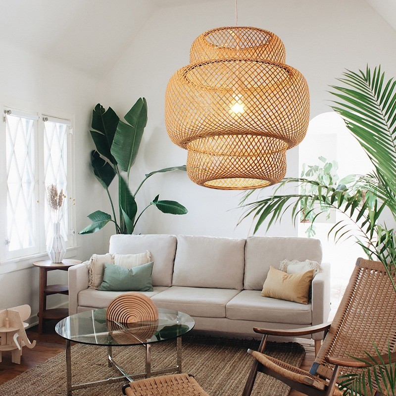 Novelty Japanese Style Hand Knitted Bamboo Pendant Lamp Modern Wood Decoration For Hotel Restaurant Cafe Bar Study Home Lighting