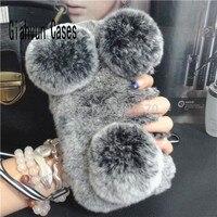 Panda Warm Soft Comfort Fur Full Fake Rabbit S Hair Hard Phone Case For Samsung Galaxy