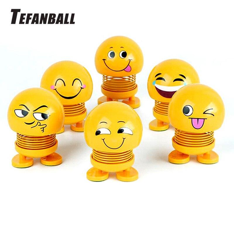 Lovely Shaking Head Toys Car Ornaments Bobblehead Nod Dolls Cute Cartoon Funny Emoji Wobble Head Robot Car Decoration