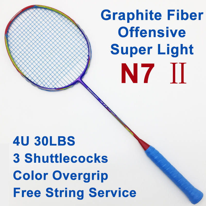 N72 Badminton Racket Super Light 4U Professional Carbon Fiber Offensive Raquete High Quality With String Overgrip For Adult quality broken wind chinese dragon badminton rackets carbon fiber professional offensive racquets single racket q1013cmk