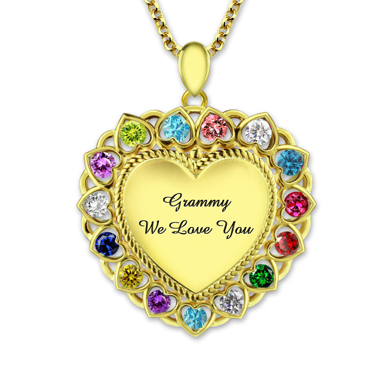 AILIN Love Heart Necklace with Birthstones Gold Color Customized Necklace Jewelry for Mother gothic and lolita