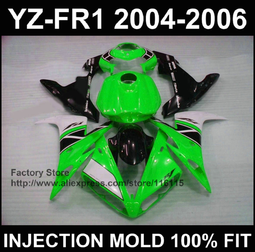 2004 2005 2006 YZF R1 Year Full Tank Cover Complete ABS Injection Fairing Cover For Yamaha Pearl White & Black With Green Decals