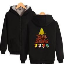 Hip Hop Christmas Thicker Hoodies Zipper Fashion Cartoon Men/Women Sweatshirts Winter Warm Clothes
