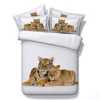 Weiß bettwäsche 3d tiger gedruckt bettwäsche-sets kind bettbezug 3/4 stück tier tagesdecken twin königin voll cal könig größen geschenke