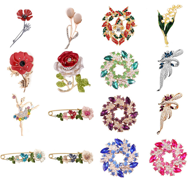Vintage Flower Rose Tulip Bell Orchid Rhinestone Pins And Brooches For Women Collar Lapel Pins Badge Brooch Jewelry Female