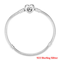 Authentic 925 Sterling Silver Bracelet Crystal Wishful Heart Snake Chain Bracelet Bangle Fit Women Bead Charm