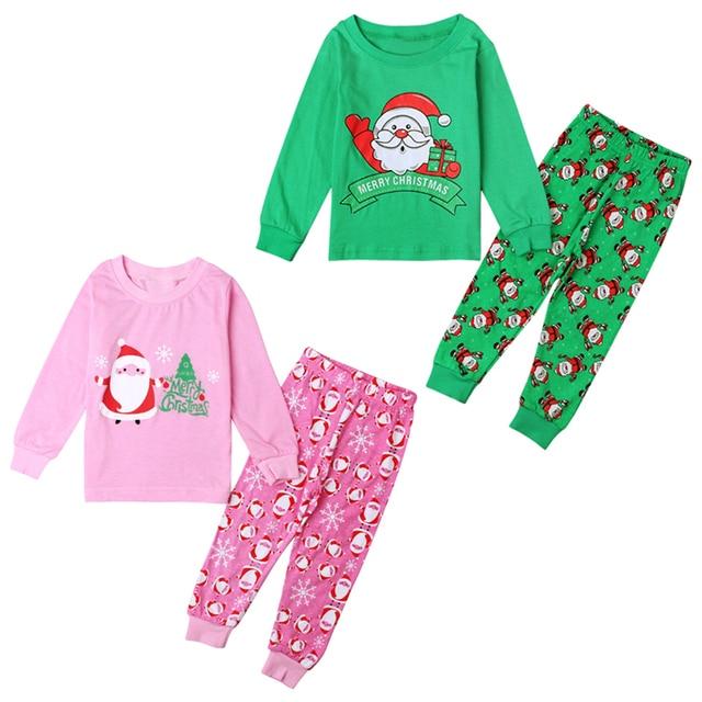 d03ca88a73 Christmas Pajamas Baby Boys Girls Clothing Sets Santa Claus Deer Pyjamas  Sleepwear Nightwear Pjs New Cotton Kids Clothes DS40