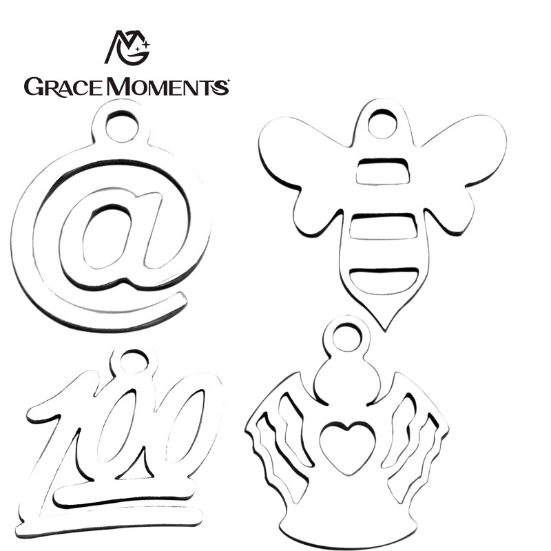 GRACE MOMENTS Stainless Steel @ 100 Hollow Cute Footprint of Dog Angel Shape Charm DIY Jewelry for Making Bracelet Necklace