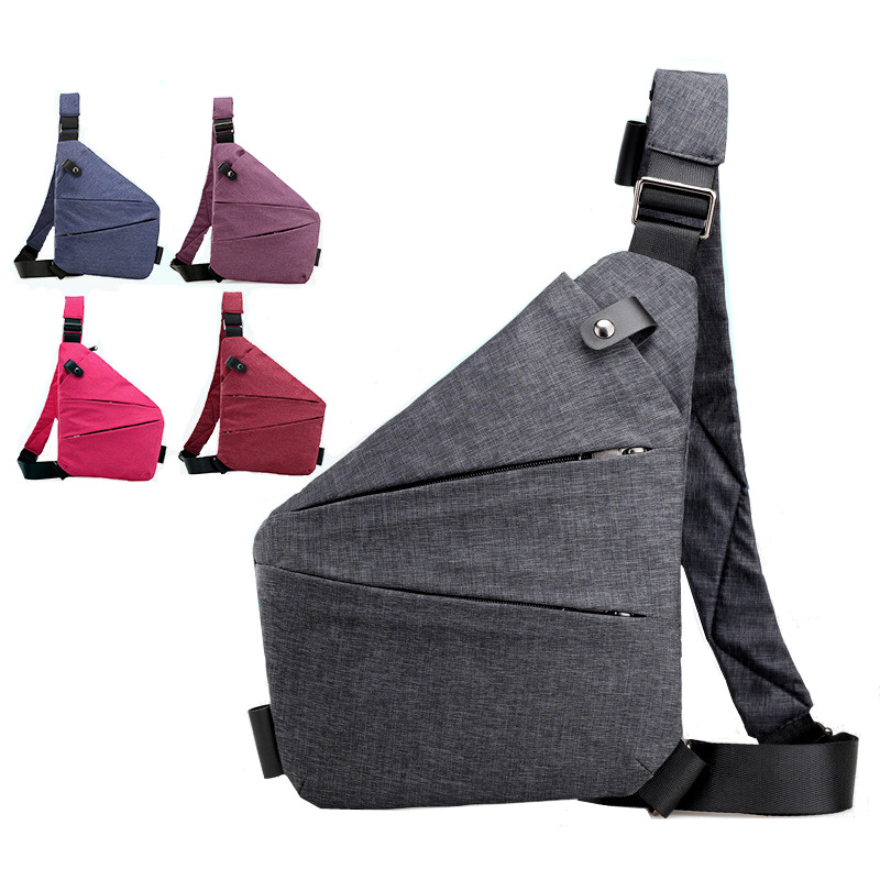 Unisex Anti-Theft Male Chest Bag Men Hidden Shoulder Messenger Bag Outdoor Retro Crossbody Bag Cool Sling Sport Bag
