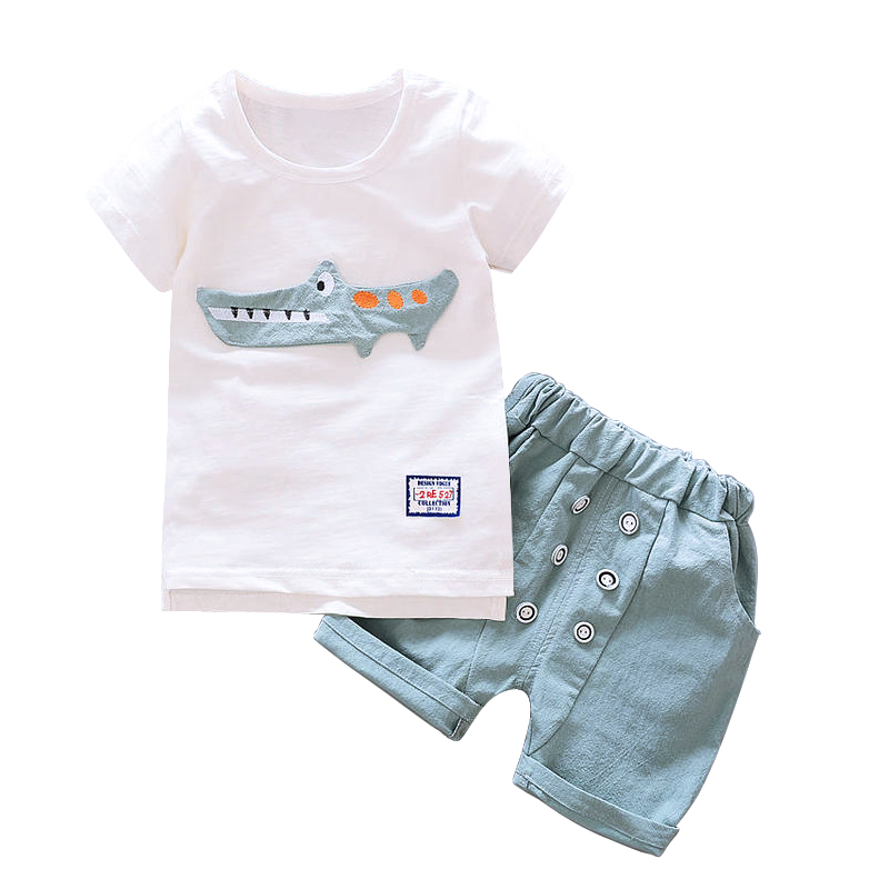 2pcs Set Cartoon 3D Dinosaur embroidery Baby Boy Kids New Summer Cotton Short-Sleeve Stitching T-shirt + Pants For Children 2pcs children outfit clothes kids baby girl off shoulder cotton ruffled sleeve tops striped t shirt blue denim jeans sunsuit set