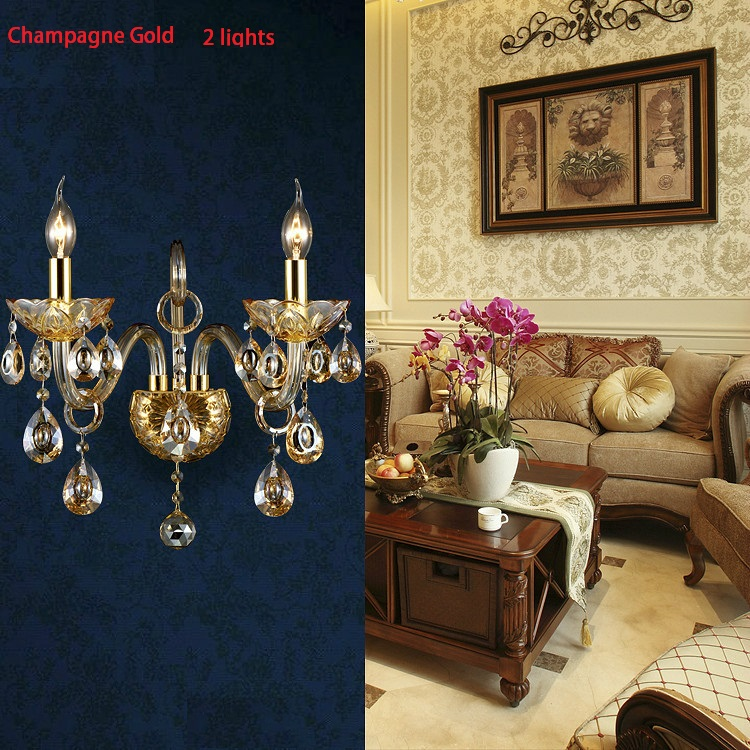 ФОТО Luxury top K9 crystals champagne gold/cognic silver Crystal Wall Lamp Candle 1/2 lights lampshades beside bed room light